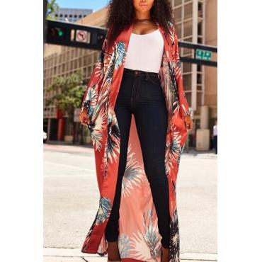 Trendy V Neck Printed Patchwork Pink Polyester Long Coat