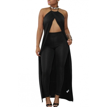 Sexy Hollow-out Black Cotton Two-piece Pants Set