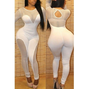 Sexy Round Neck See-Through White Polyester One-piece Jumpsuits