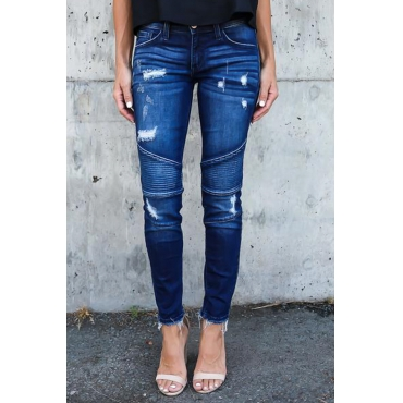 Lovely Euramerican Patchwork Dark Blue Denim Pants