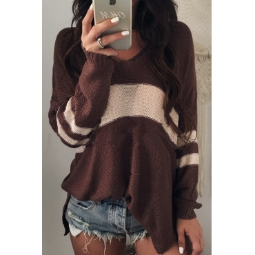 Euramerican V Neck Long Sleeves Patchwork Chocolate Wool Sweaters
