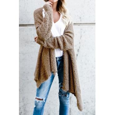 Lovely Stylish Long Sleeves Asymmetrical Khaki Velvet Sweaters