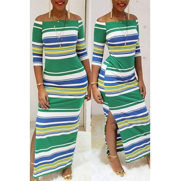 Euramerican Dew Shoulder Striped Milk Fiber Sheath Ankle Length Dress