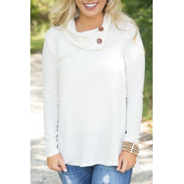 Trendy Long Sleeves Side Split White Cotton Shirts