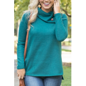 Trendy Long Sleeves Side Split Green Cotton Shirts