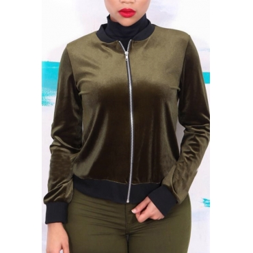 Leisure Round Neck Zipper Design Army Green Velvet Coat