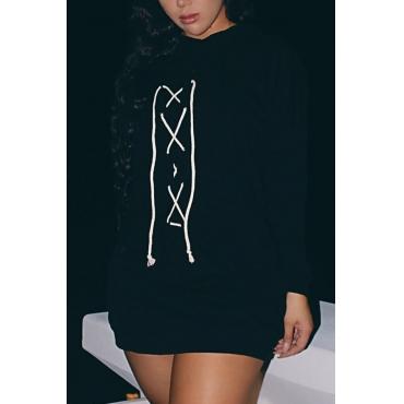 Cotton Blend Casual O neck Cap Sleeve Long Sleeve Straight Mini Dresses