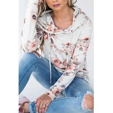 Lovely Leisure Long Sleeves Floral Print White Blending Hoodies