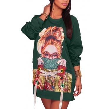 Leisure Round Neck Printed Green Cotton Mini Dress