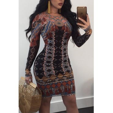 Sexy Dew Shoulder Printed Polyester Sheath Knee Length Dress