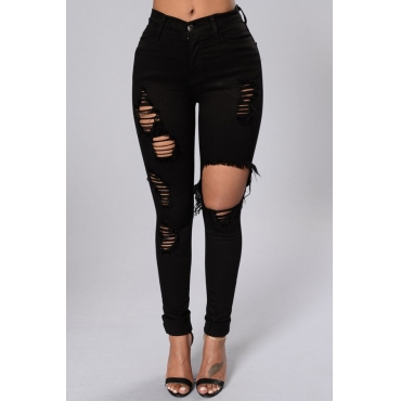 Trendy High Waist Broken Holes Black Denim Pants