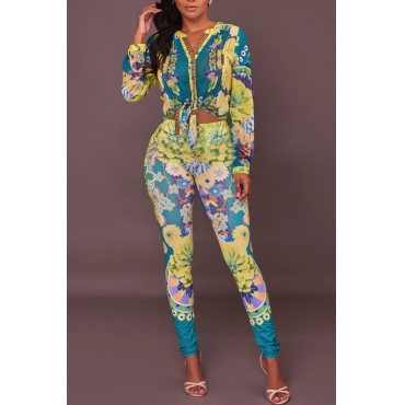 Euramerican V Neck Floral Print Green Polyester Two-piece Pants Set