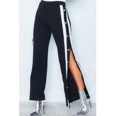 Trendy Elastic Waist Side Split Black Polyester Pants