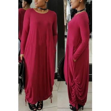 Casual Round Neck Red Polyester Mid Calf Dress