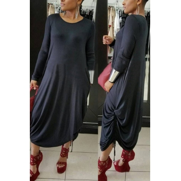 Casual Round Neck Black Polyester Mid Calf Dress