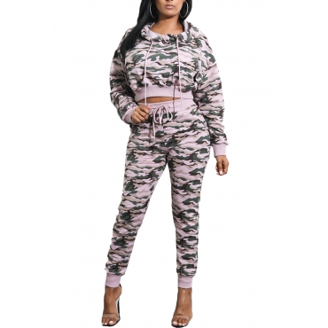 Euramerican Hooded Collar Printed Patchwork Pink Qmilch Two-piece Pants Set