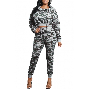 Euramerican Hooded Collar Printed Patchwork Grey Qmilch Two-piece Pants Set