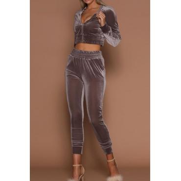 Euramerican Mandarin Collar Zipper Design Grey Cotton Two-piece Pants Set