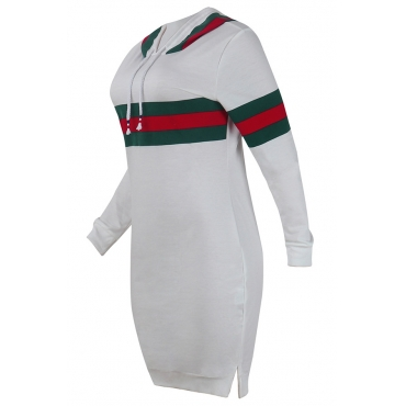 Leisure Hooded Collar Striped Patchwork White Cotton Blend Knee Length Dress