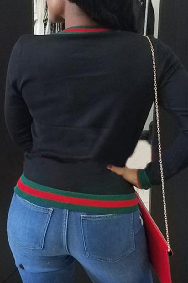 Camiseta Casual De Mezcla De Algodón Negro De Patchwork Cuello Redondo