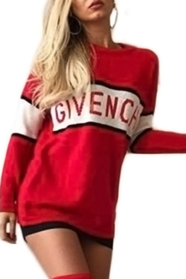 Casual Round Neck Letter Patchwork Red Cotton Blend Mini Dress Dresses <br><br>