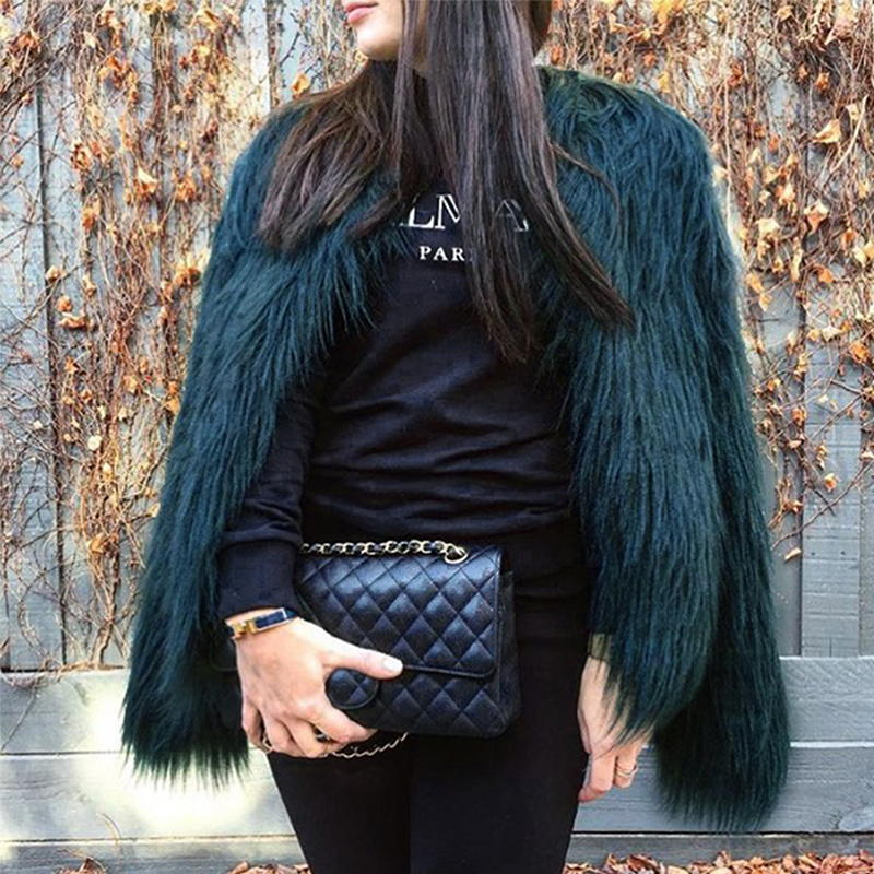 Fashionable Round Neck Long Sleeves Green Faux Fur Coat