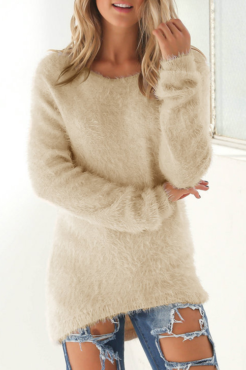 Lovely Fashionable Round Neck Long Sleeves Apricot Knitting Sweaters