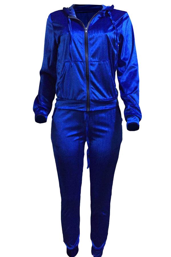 Euramerican Turndown Collar Zipper Design Fundo De Veludo Azul De Duas Peças Calças Conjunto