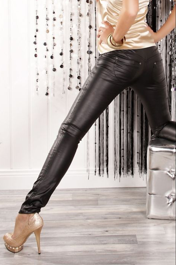 Fashionable Low Waist Black Leather Pants