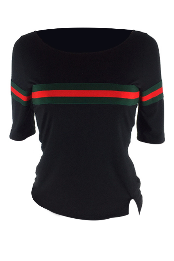 LovelyCasual Round Neck Striped Patchwork Black Cotton T-shirt