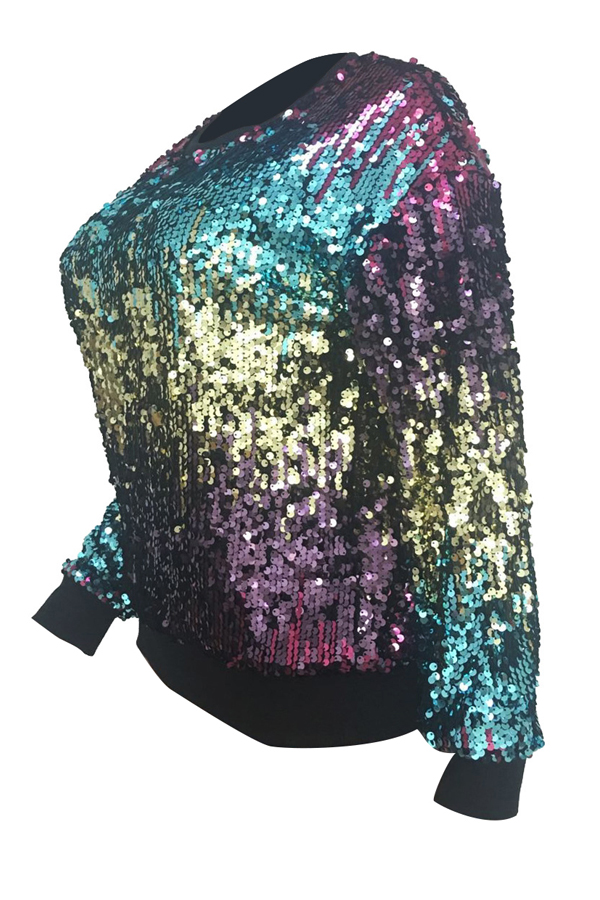 Euramerican Round Neck Sequined Decorative Polyester Hoodies