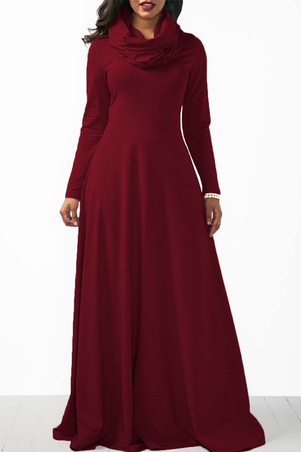 Casual Heaps Collar Long Sleeves Red Cotton Ankle Length Dress Dresses <br><br>