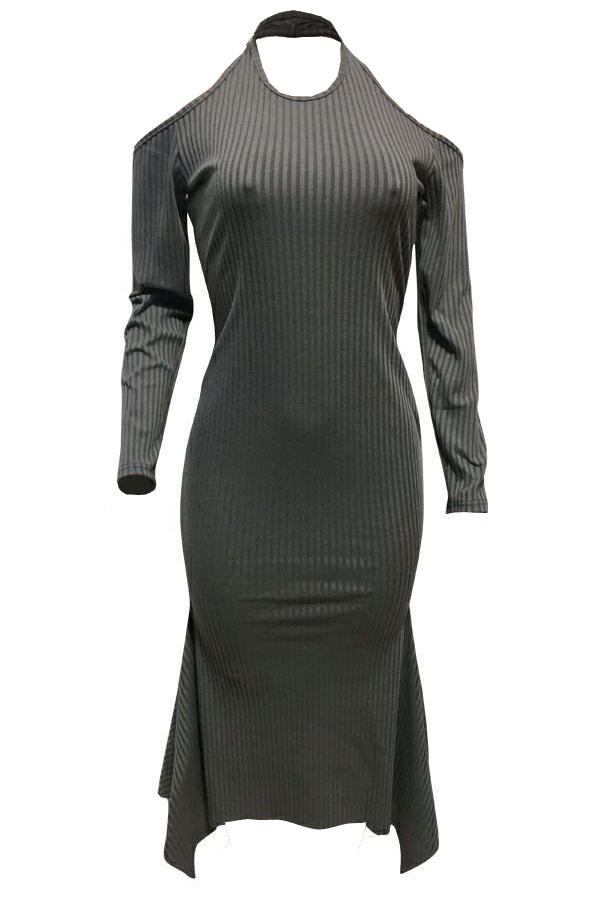 Sexy Round Neck Irregular Hems Hollow-out Grey Cotton Blend Mid Calf Dress