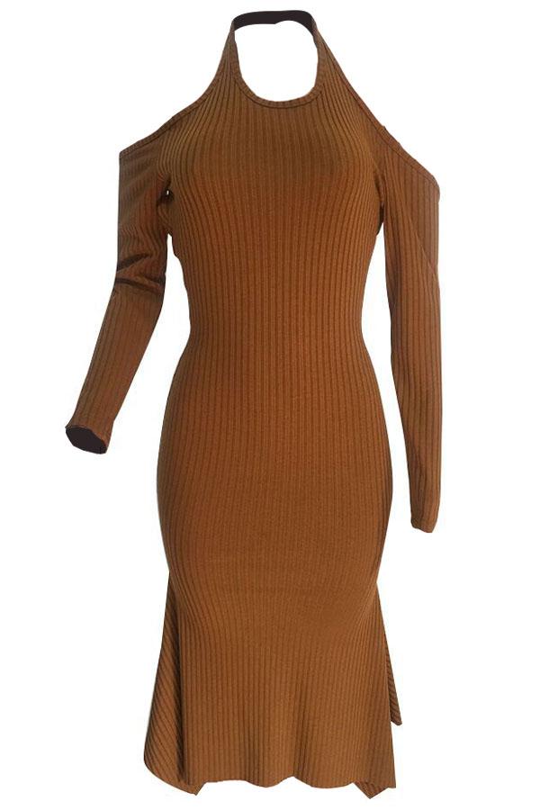 Sexy Round Neck Irregular Hems Hollow-out Yellow Cotton Blend Mid Calf Dress