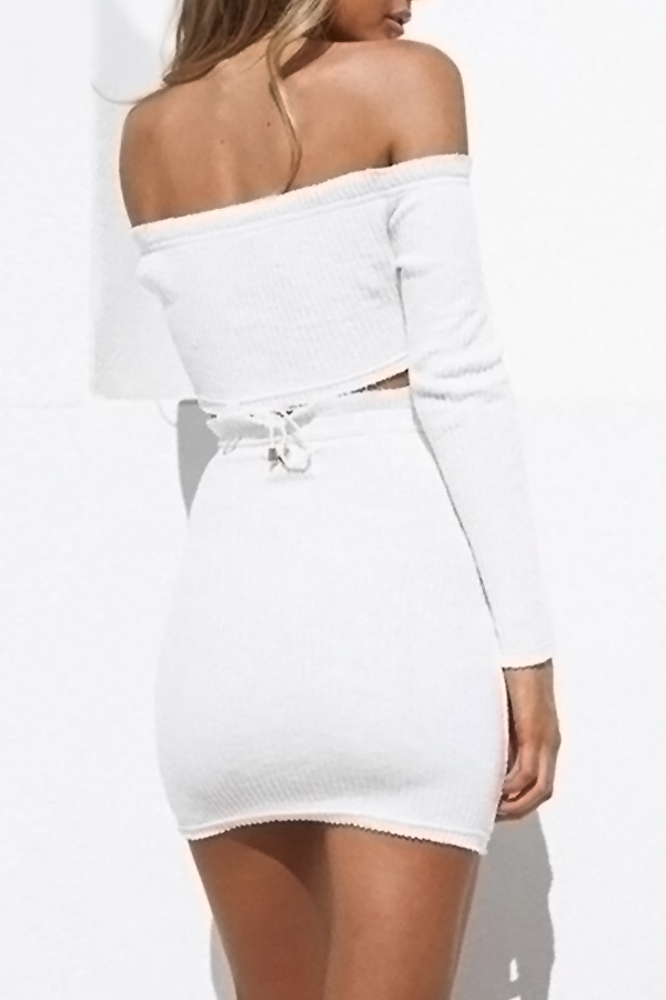 Sexy Bateau Neck Lace-up White Cotton Two-piece Skirt Set(Without Accessories)