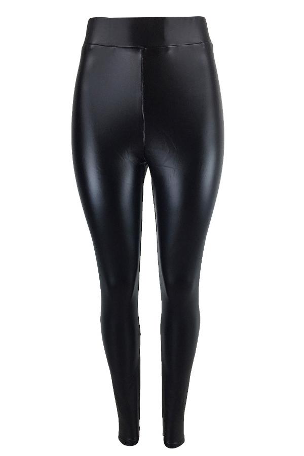 Euramerican Hohe Elastische Taille Schwarze Lederhose
