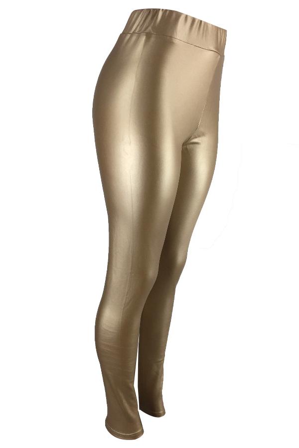 Pantalones Euramerican De Cintura Elástica De Cuero Dorado