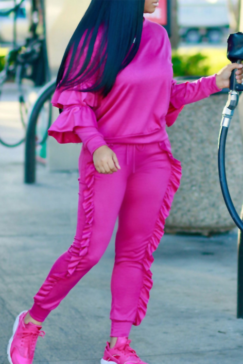Fashionable Round Neck Ruched Rose Blending Two-piece Pants Set