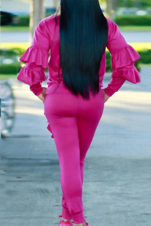 Conjunto De Pantalones De Dos Piezas De Mezcla De Rosas De Color Rosa Y Cuello Redondo A La Moda