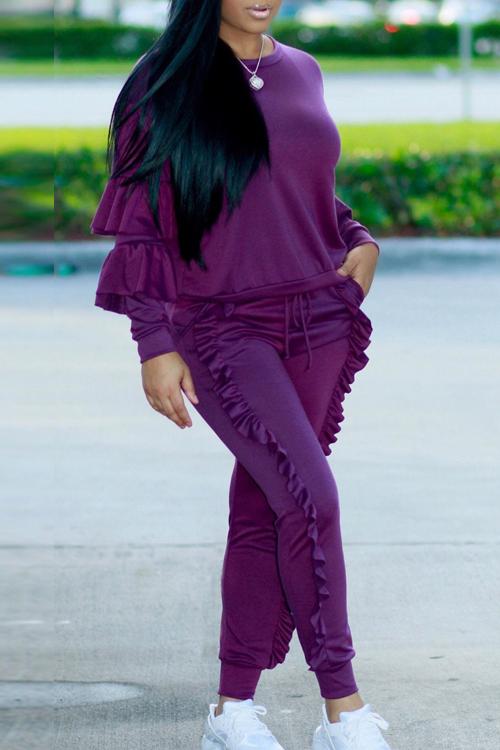 Модная Круглая Шея, Пушистая Пурпурная Смесь Из Двух Частей