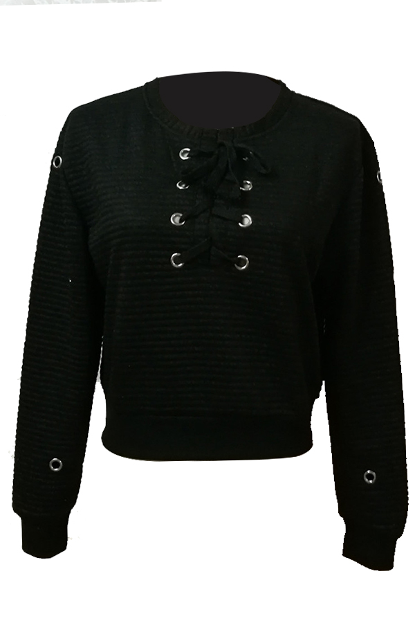 Fashionable V Neck Lace-up Hollow-out Black Polyester Hoodies