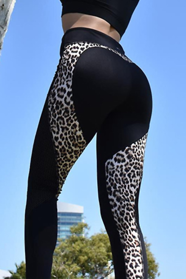 Euramerican High Waist Panther Print Black Polyester Leggings