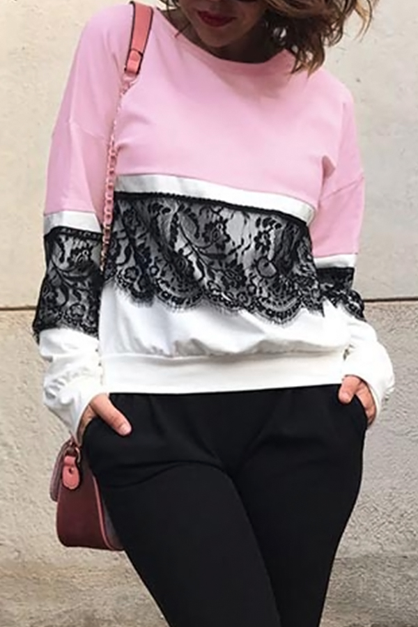 Fashionable Round Neck Lace Patchwork Pink Polyester T-shirt<br>
