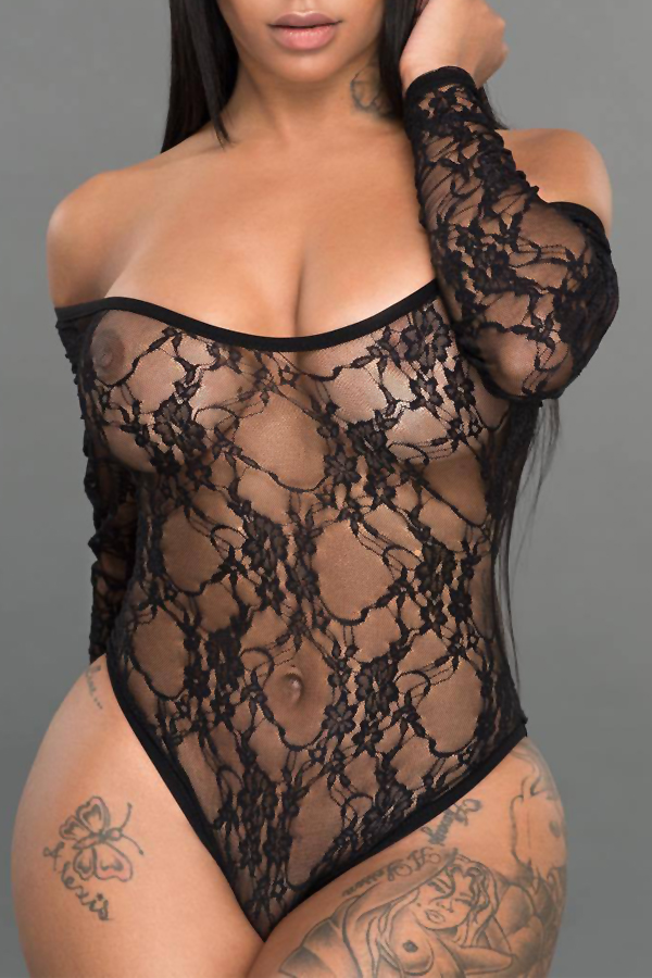 Sexy U Neck See-Through Black Lace One-piece Jumpsuits
