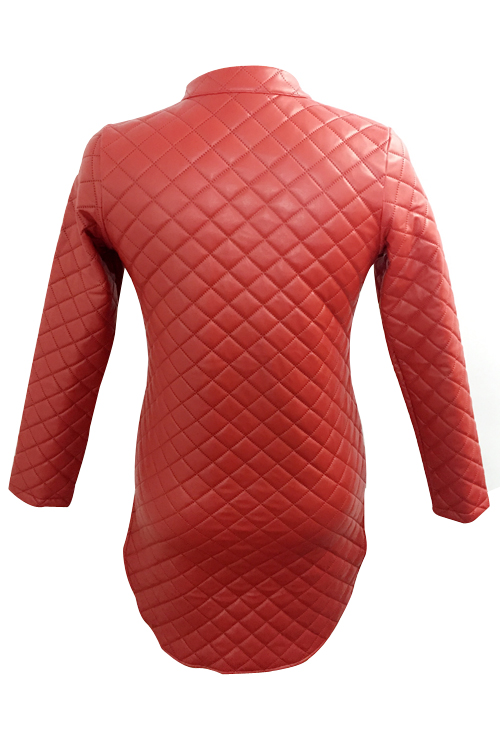 Trendy Turtleneck Long Sleeves Zipper Design Wine Red Leather Mini Dress