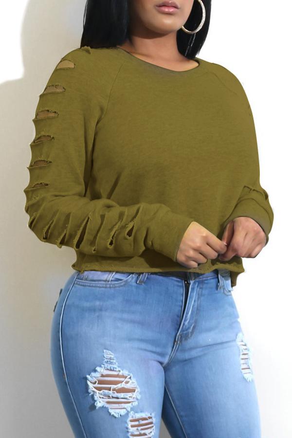 Модные Круглые Шеи Выдолбленные Зеленые Спандекс Hoodies