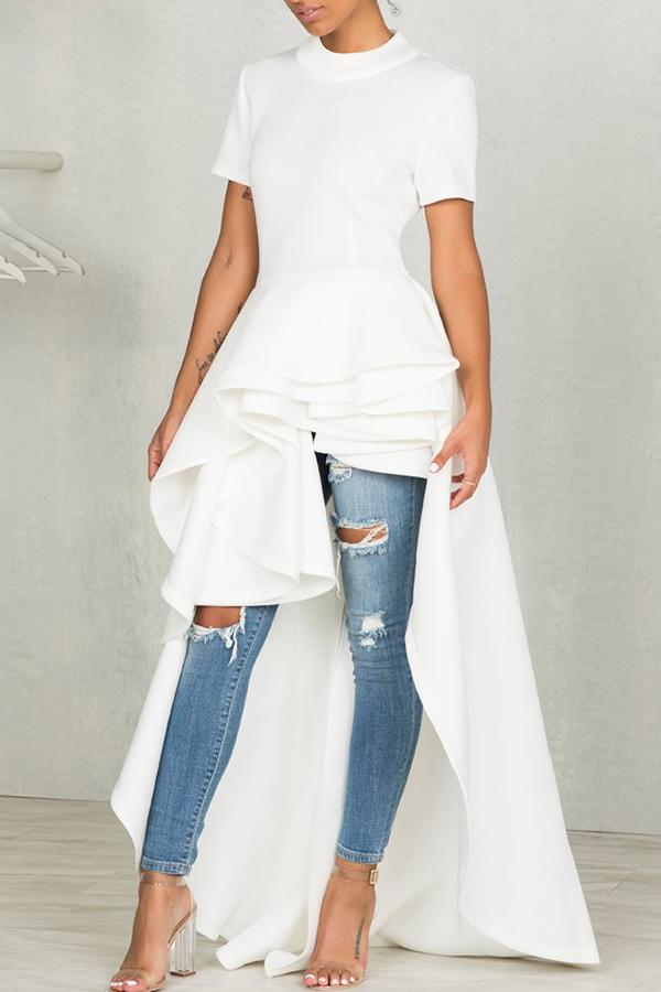 Stylish Mandarin Collar Asymmetrical Falbala Design White Polyester Mid Calf Dress Dresses <br><br>