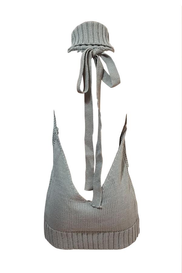 Sexy Turtleneck Backless Grey Knitting Mini Dress