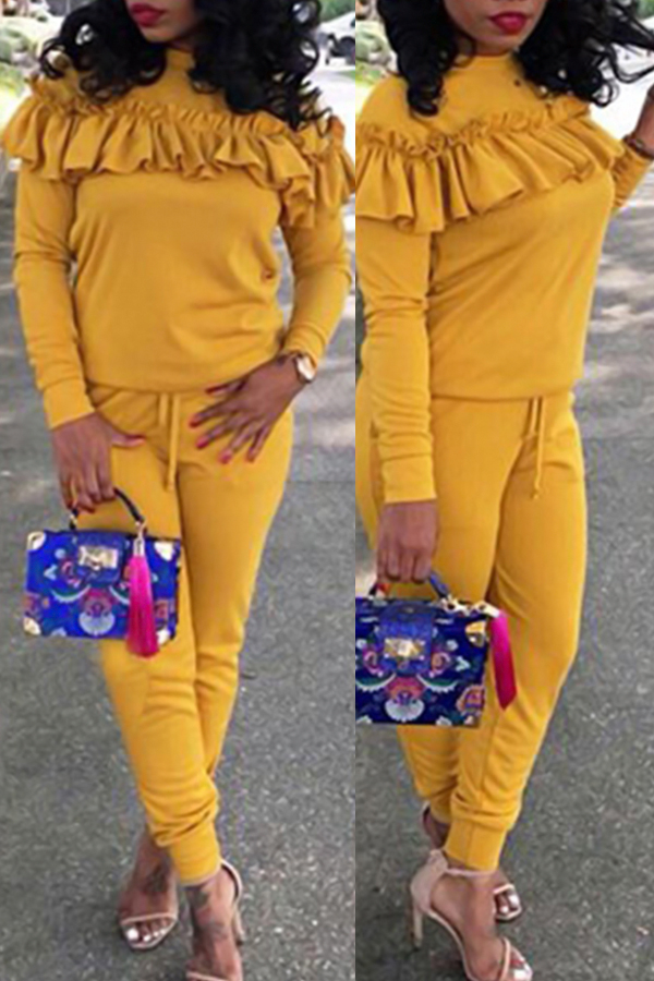 Casual Round Neck Pleated Design Yellow Cotton Two-piece Pants Set<br>