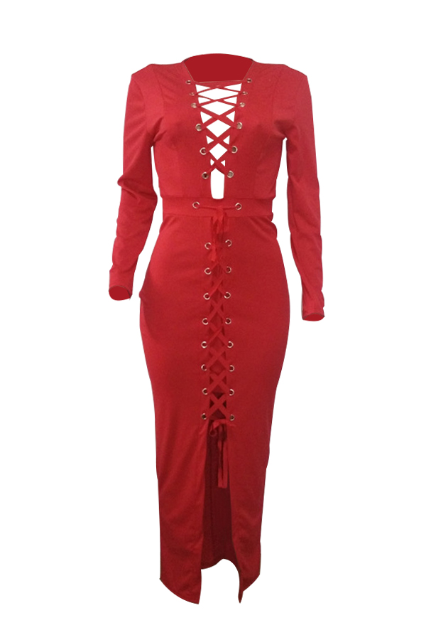 Sexy V Neck Lace-up Hollow-out Red Polyester Ankle Length Dress